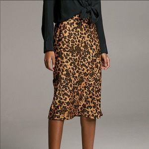 NWT Aritzia Babaton Leopard Midi Slip Skirt Size 2